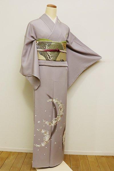 銀座【B-2084】↑Sサイズ↓訪問着 薄梅鼠色 月に桜の図(しつけ付)