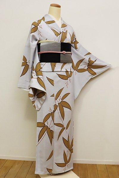 あおき【D-2125】縮緬地 小紋 白菫色 竹の図(しつけ付)