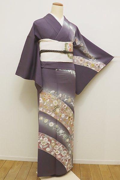 銀座【B-2087】↑Sサイズ↓訪問着 滅紫色 更紗花の段