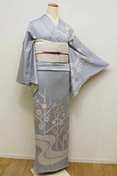 銀座【B-2089】繍一ッ紋 絞り染め 訪問着 淡藤色 枝梅に流水の図