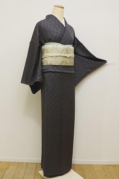 あおき【D-2127】小紋 黒色 装飾菱文(しつけ付)