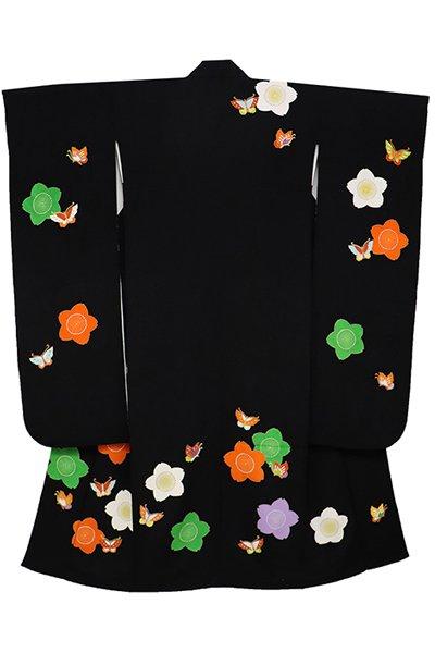 あおき【着物2375】振袖 黒色縮緬地 桜に蝶の図