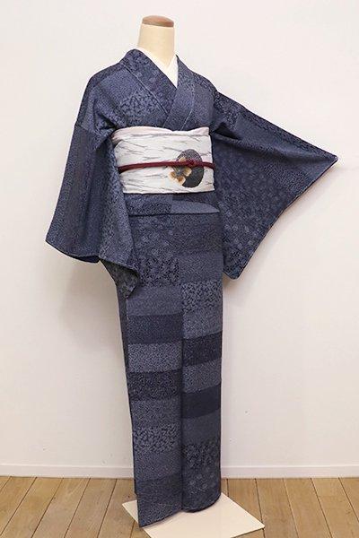 あおき【C-1544】(S)江戸小紋 濃藍色 段に小紋柄寄せ(しつけ付)