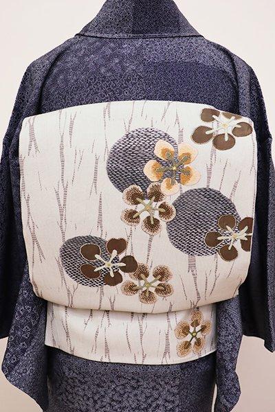 あおき【L-4300】洒落袋帯 白花色 丸に梅の図