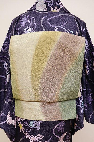 銀座【L-4302】洒落袋帯 絹鼠色×鳩羽色×青鈍色×木蘭色 流線暈かし