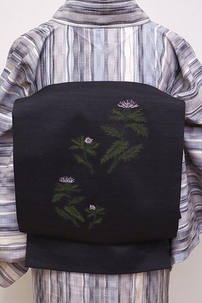 銀座【L-4303】紬地 洒落袋帯 黒色 薊の図