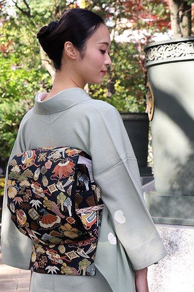 銀座【帯2908】西陣 藤原製 袋帯 黒色 宝尽くし文