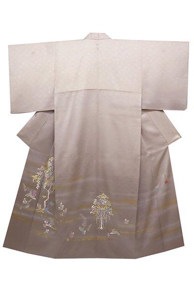 銀座【着物2385】人間国宝 福田喜重作 染五ッ紋 刺繍色留袖 (落款入)