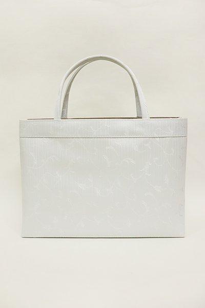 銀座【G-1152-2】京都 衿秀製 トートバッグ 白練色 唐草文(新品)