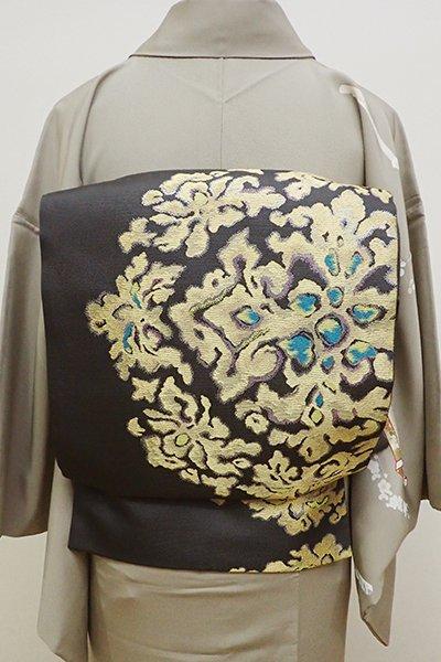 あおき【L-4308】西陣 洛陽織物製 袋帯 墨色 装飾華文(落款入)