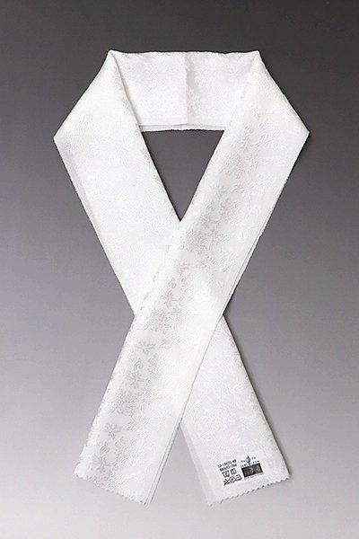 【G-1165-2】京都 衿秀製 ウォッシャブル 正絹半衿 白色 牡丹唐草文(新品)
