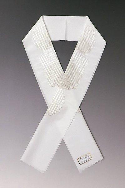 【G-1177】京都 衿秀製 合繊 刺繍半衿 白色×ベージュ 雪輪文(新品)