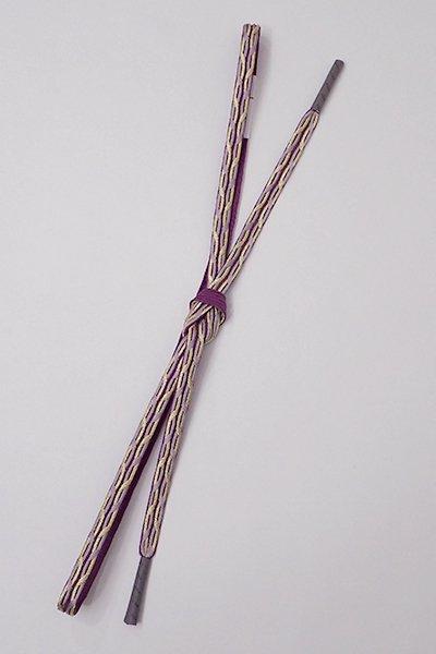 銀座【G-1193】京都 衿秀製 帯締め 平組 桑の実色×薄葡萄色×金糸(新品)