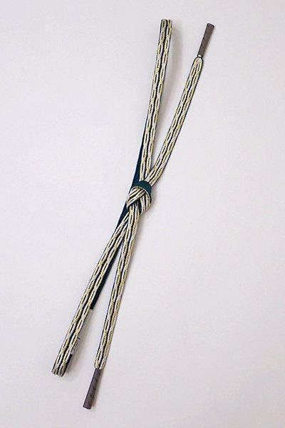 【G-1194】京都 衿秀製 帯締め 平組 青みを帯びた萌黄色×白色×金糸(新品)