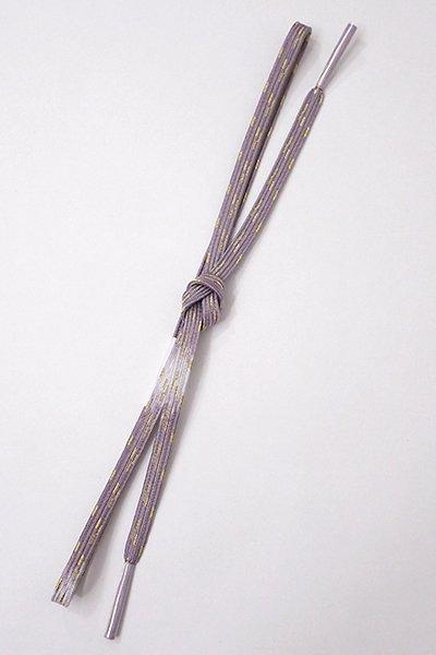 【G-1195】京都 衿秀製 帯締め 平組 鳩羽色×白×金糸(新品)