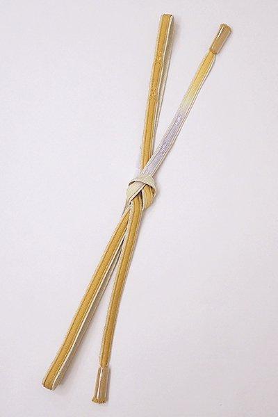 銀座【G-1198】京都 衿秀製 帯締め 平組 山吹茶色×白色×金色(新品)