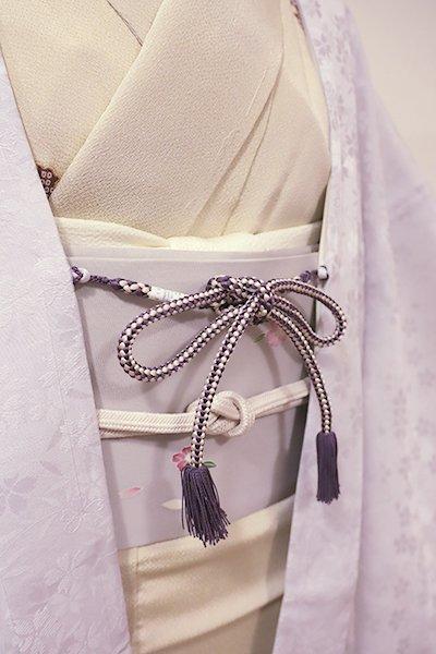銀座【G-1202】京都 衿秀製 羽織紐 丸組 滅紫色×白色(新品)
