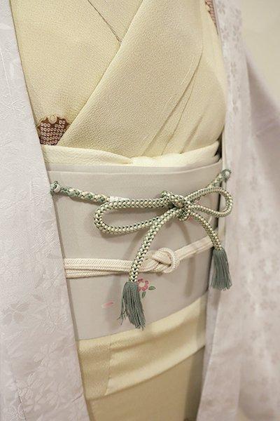 銀座【G-1205-3】京都 衿秀製 羽織紐 丸組 柳煤竹色×白色 (新品)