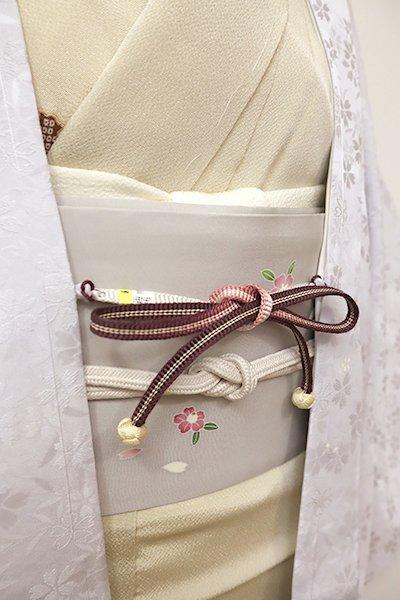 銀座【G-1207-3】京都 衿秀製 羽織紐 平組 紫鳶色×白色 暈かし(新品)