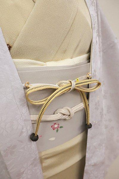 【G-1209】京都 衿秀製 羽織紐 平組 淡黄色×白色 暈かし  (新品)