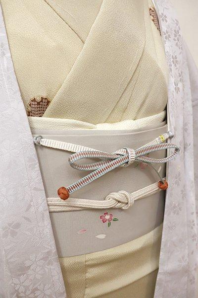 銀座【G-1211】京都 衿秀製 羽織紐 平組 浅縹色×白色 暈かし(新品)
