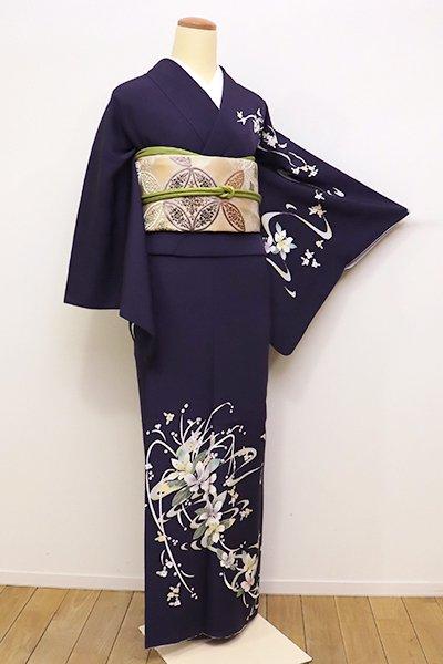 銀座【B-2096】↑Sサイズ↓松島由美作 本加賀友禅 訪問着 黒みの深紫色 「白に踊って」(証紙付・落款入)