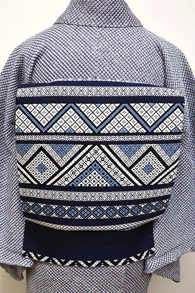 銀座【L-4311】西陣製 洒落袋帯 濃藍色×白色 こぎん文横段(証紙付)