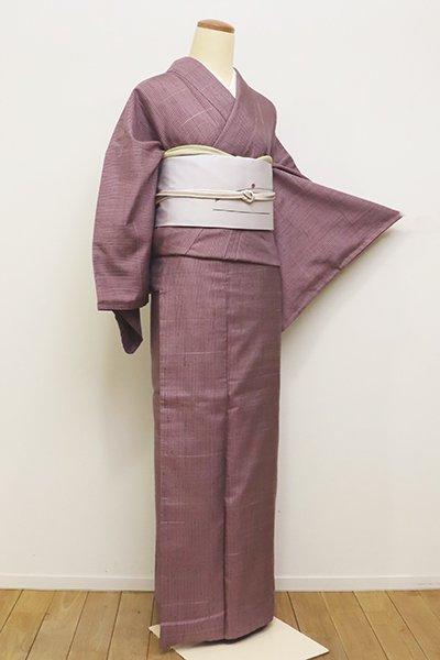 あおき【A-2714】←ユッタリ→真綿紬 淡い京紫色 細縞に横段(反端付)