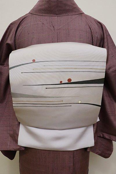銀座【K-5819】塩瀬 染名古屋帯 淡い白藤色 抽象文(落款入)