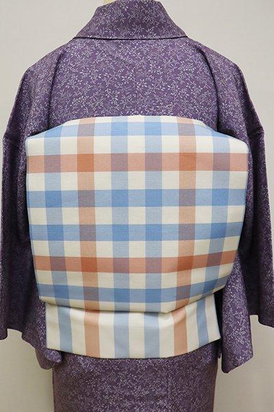 WEB限定【K-5824】織名古屋帯 白色×青藤色×ときがら茶色 格子