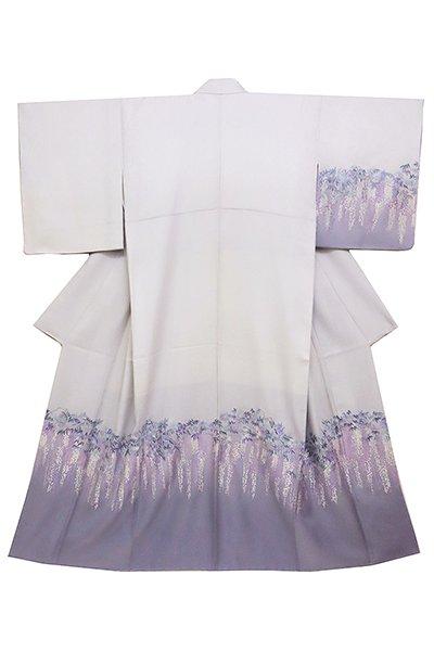 銀座【着物2390】刺繍訪問着 白鼠色裾濃暈かしに藤の図 (しつけ付)