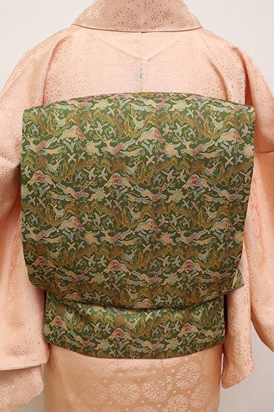 銀座【K-5825】西陣 龍村美術織物製 光波帯 麹塵色 楽浪祥瑞文(証紙付・未使用)