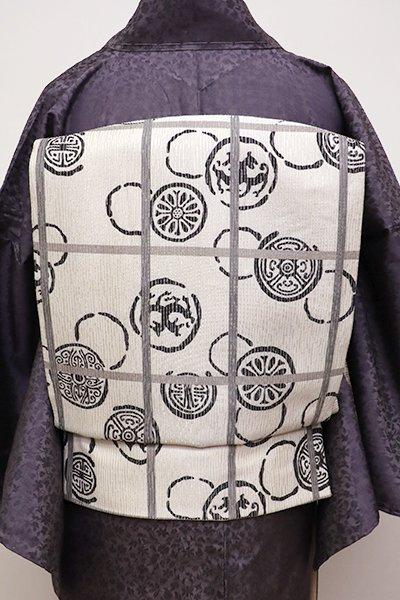 銀座【L-4316】洒落袋帯 白練色 格子に丸瓦文