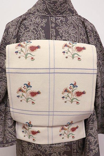 WEB限定【L-4317】紬地 洒落袋帯 練色 更紗花文