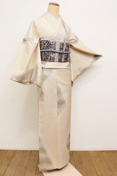 銀座【D-2136】←ユッタリ→小紋 鳥の子色×黄海松茶色 抽象文