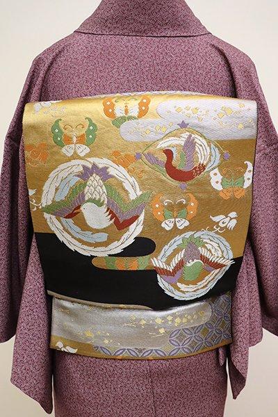 銀座【L-4323】西陣 川島織物製 本袋帯 黒色 霞に鳳凰の丸文(落款入)