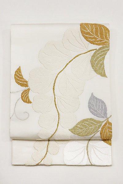 あおき【帯2929】唐織 袋帯 白色 藤の図