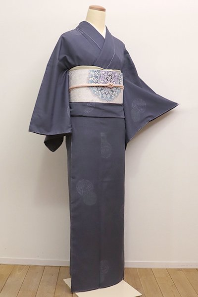 銀座【A-2722】(細め)紬 藍墨茶色 手鞠の図(しつけ付)