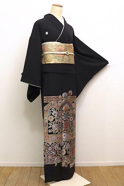 銀座【B-2107】染五ッ紋 黒留袖 更紗文