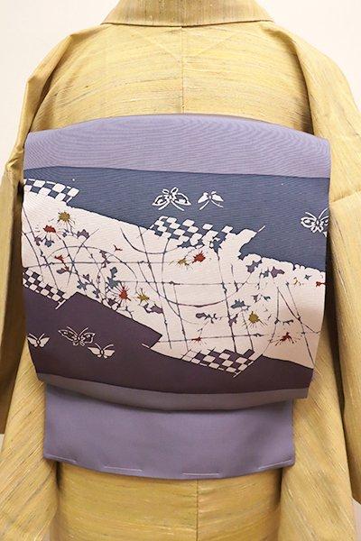 銀座【K-5840】塩瀬 染名古屋帯 暗い薄花色 蝶に菊の図