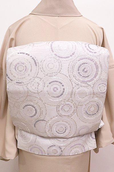 銀座【K-5841】京袋帯 白色 抽象文