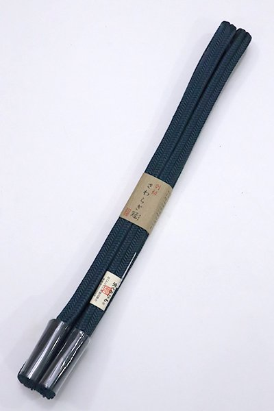 銀座【S-769】京くみひも 正絹 帯締め 冠組 高麗納戸色(新品)