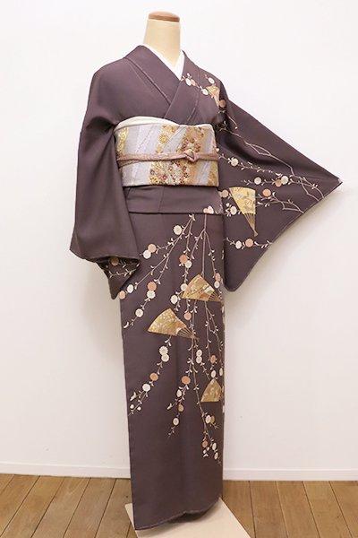 銀座【B-2113】訪問着 深い江戸鼠色 柳菊に扇面の図(しつけ付)