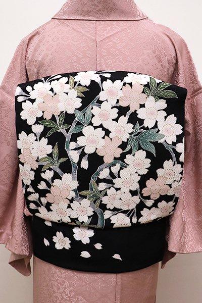 銀座【K-5843】縮緬地 染名古屋帯 黒色 枝桜の図(長尺)