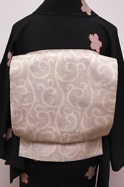 銀座【L-4335】紬地 洒落袋帯 素色 唐草文(落款入)