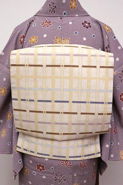 銀座【L-4337】織洒落袋帯 鳥の子色 格子文