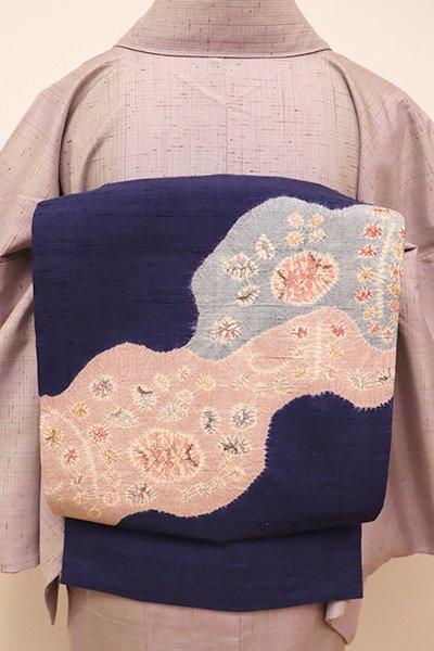 あおき【K-5852】紬地 絞り染め 名古屋帯 濃藍色 花の図