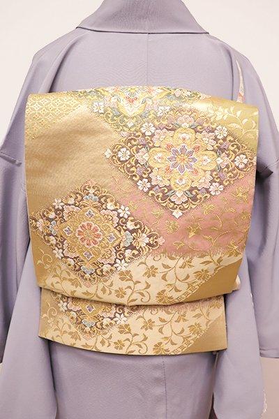 銀座【L-4342】袋帯 金色 装飾菱文