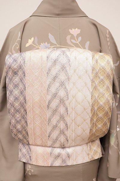 銀座【L-4344】組織り 袋帯 薄桜色×白色など 幾何文の竪縞