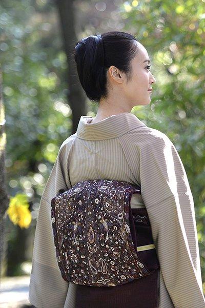 銀座【帯2937】相良刺繍 袋帯 葡萄色 更紗花鳥文
